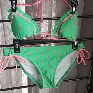 NWOT Arizona green and pink flamingo bikini.
